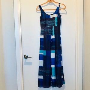 Ann Taylor silky blue patterned petite maxi dress